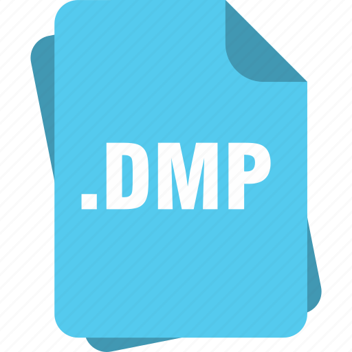 blue, dmp, extension, file, page, type icon