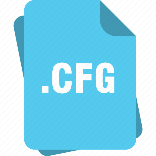 blue, cfg, extension, file, page, type icon
