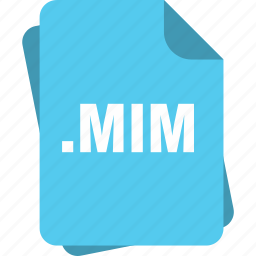 blue, extension, file, mim, page, type icon