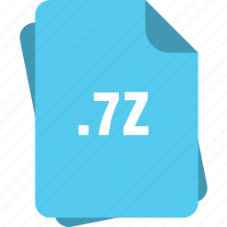 7z, blue, extension, file, page, type icon