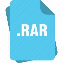 blue, extension, file, page, rar, type icon