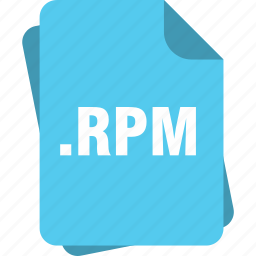 blue, extension, file, page, rpm, type icon