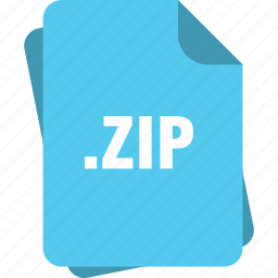 blue, extension, file, page, type, zip icon