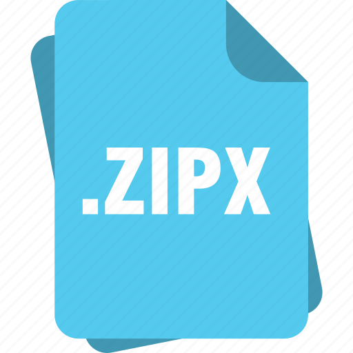 blue, extension, file, page, type, zipx icon