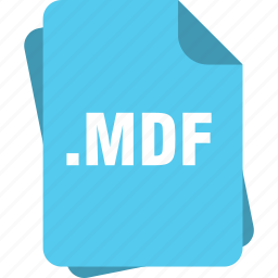 blue, extension, file, mdf, page, type icon