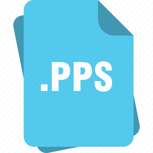 blue, extension, file, page, pps, type icon
