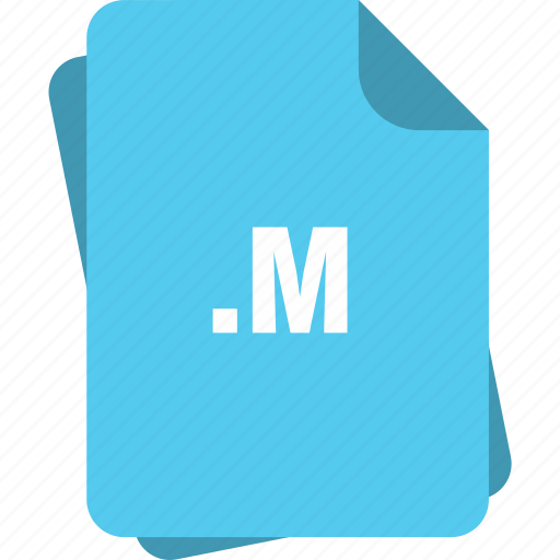 blue, extension, file, m, page, type icon