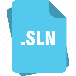 blue, extension, file, page, sln, type icon