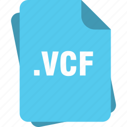 blue, extension, file, page, type, vcf icon