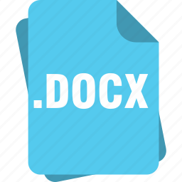 blue, docx, extension, file, microsoft word document, page, type icon