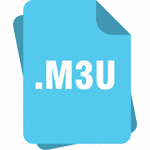 blue, extension, file, m3u, page, type icon