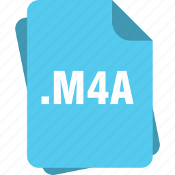 blue, extension, file, m4a, page, type icon