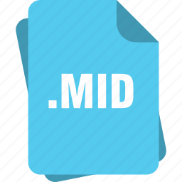 blue, extension, file, mid, page, type icon