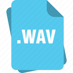 blue, extension, file, page, type, wav icon