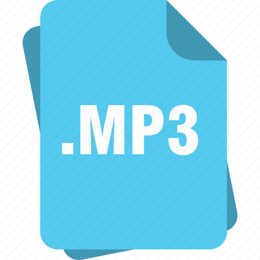 blue, extension, file, mp3, page, type icon