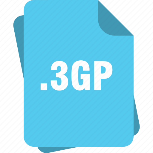 blue, extension, file, gp, page, type, video icon