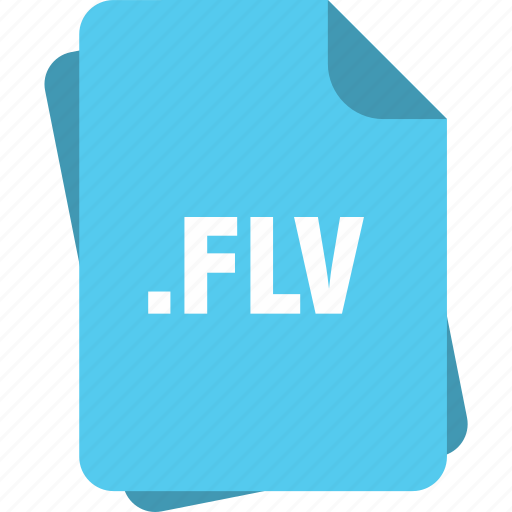blue, extension, file, flv, page, type icon