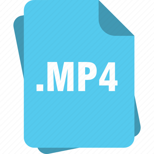 blue, extension, file, mp4, page, type icon
