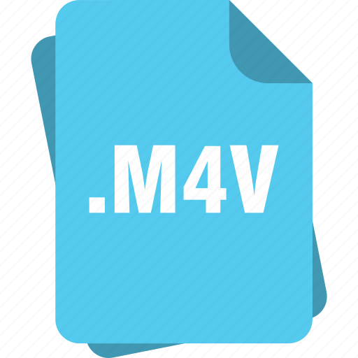 blue, extension, file, m4v, page, type icon