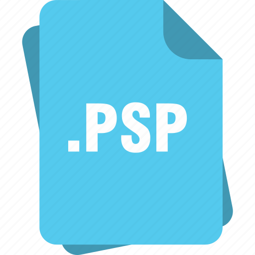 blue, extension, file, page, psp, type icon