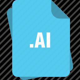 ai, ai file, blue, extension, file, page, type icon