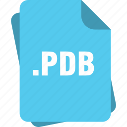 blue, extension, file, page, pdb, type icon
