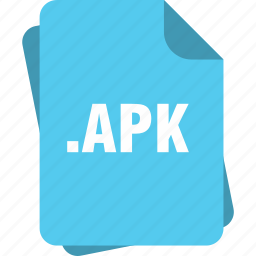 apk, blue, extension, file, page, type icon