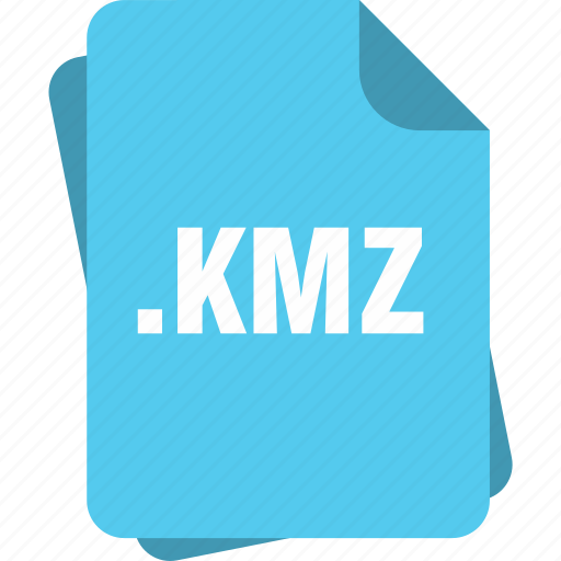 blue, extension, file, kmz, page, type icon
