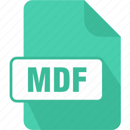 extension, file, mdf, media disc image file, type icon
