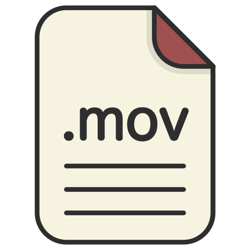 document, extension, file, format, mov, video icon