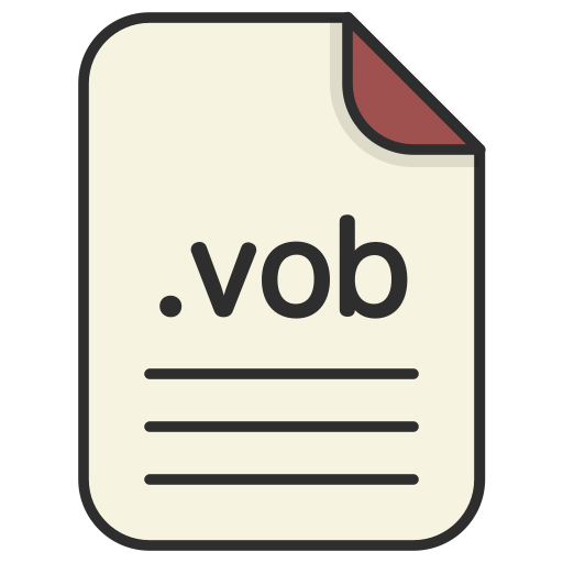 document, extension, file, format, video, vob icon