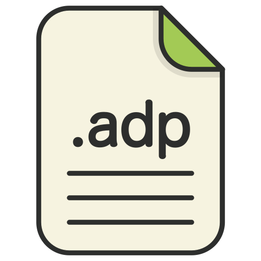 adp, document, extension, file, format, type, web icon