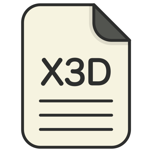 document, file, file 3d, format, type, x3d icon