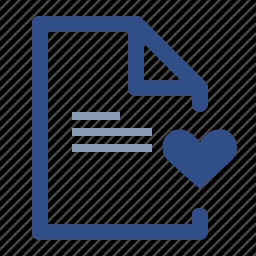 document, file, heart, love icon