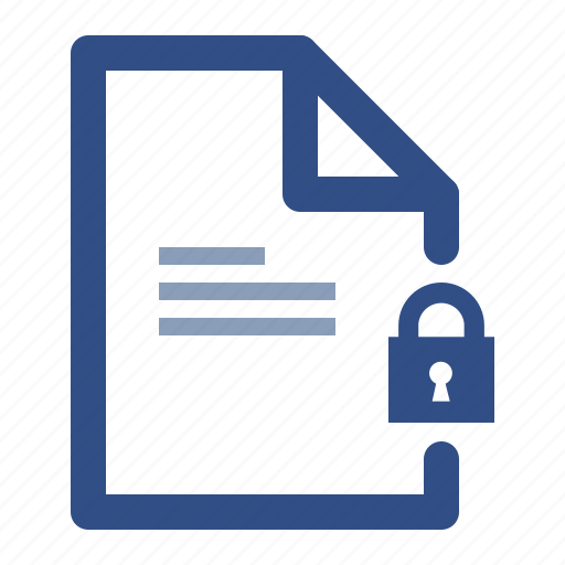 document, file, lock, secure icon
