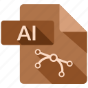 ai file, document, file, tag icon