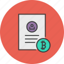 bitcoin, customer, details, document, profile, shopping, user icon