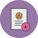 account, details, document, important, profile, star, user icon