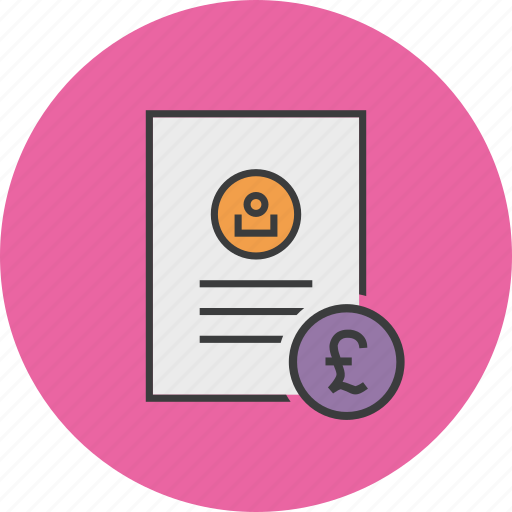 account statement, banking, commerce, document, pound, report, user icon