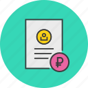 account statement, banking, business, document, report, ruble, user icon