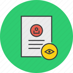 access, account, details, document, profile, user, view icon
