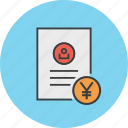 account statement, banking, document, report, trade, user, yen icon
