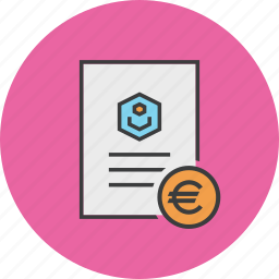 account statement, banking, document, euro, report, trade, user icon