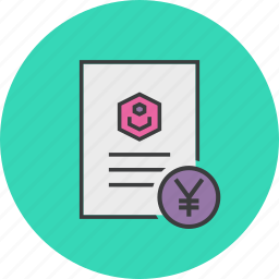 account statement, banking, business, customer, document, user, yuan icon