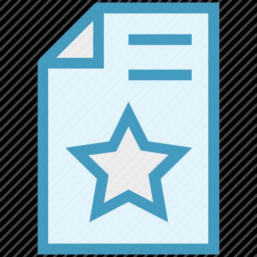 document, favorite, favorite file, file, page, paper, star icon
