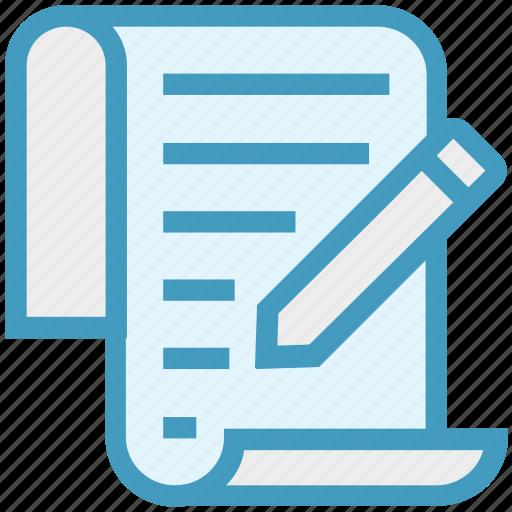 document, document list, file, list, page, pencil, write icon
