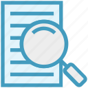 document, file, find, magnifier, page, paper, searching icon