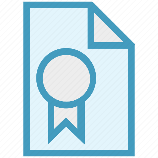document, file, medal, page, paper, prize, ribbon icon