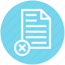 cross, document, document list, file, page, paper, text icon