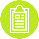 clipboard, document, document list, file, page, sheet, text icon